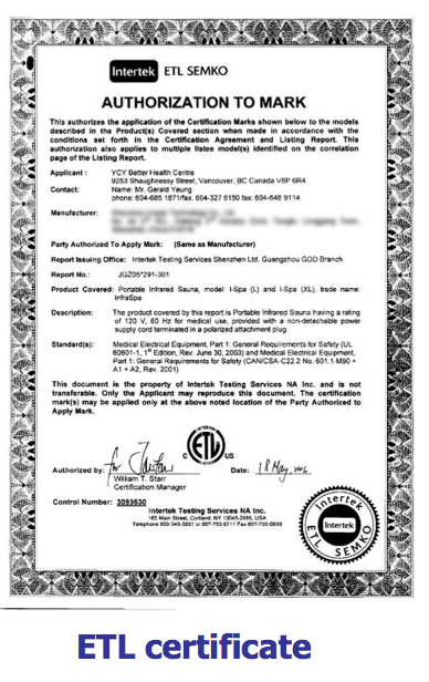Certifikat infraröd bastu ETL